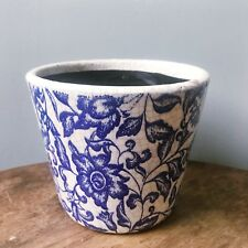 Blue White Floral Pattern Rustic Aged Dutch Plant Pot Cover Planter Shabby Chic