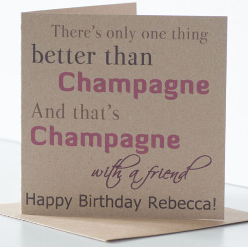 Personalised Champagne Card. Champagne Birthday Card for a special best friend