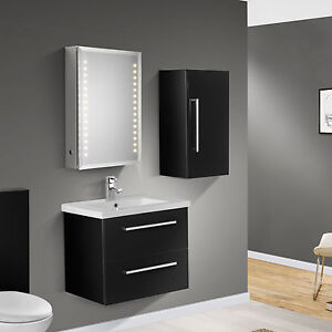 600mm wall hung black gloss bathroom basin cabinet vanity side cabinet ebay - Bathroom cabinets black gloss ...