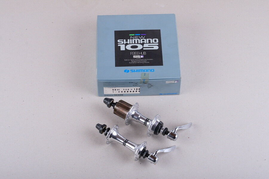 NOS Shimano  105  6 speed uniglide casette hubs set, 126mm rear hub spacing, 36h  100% authentic