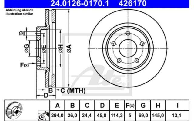 ATE Juego de 2 discos freno ventilado Para CITROEN C4 PEUGEOT 24.0126-0170.1