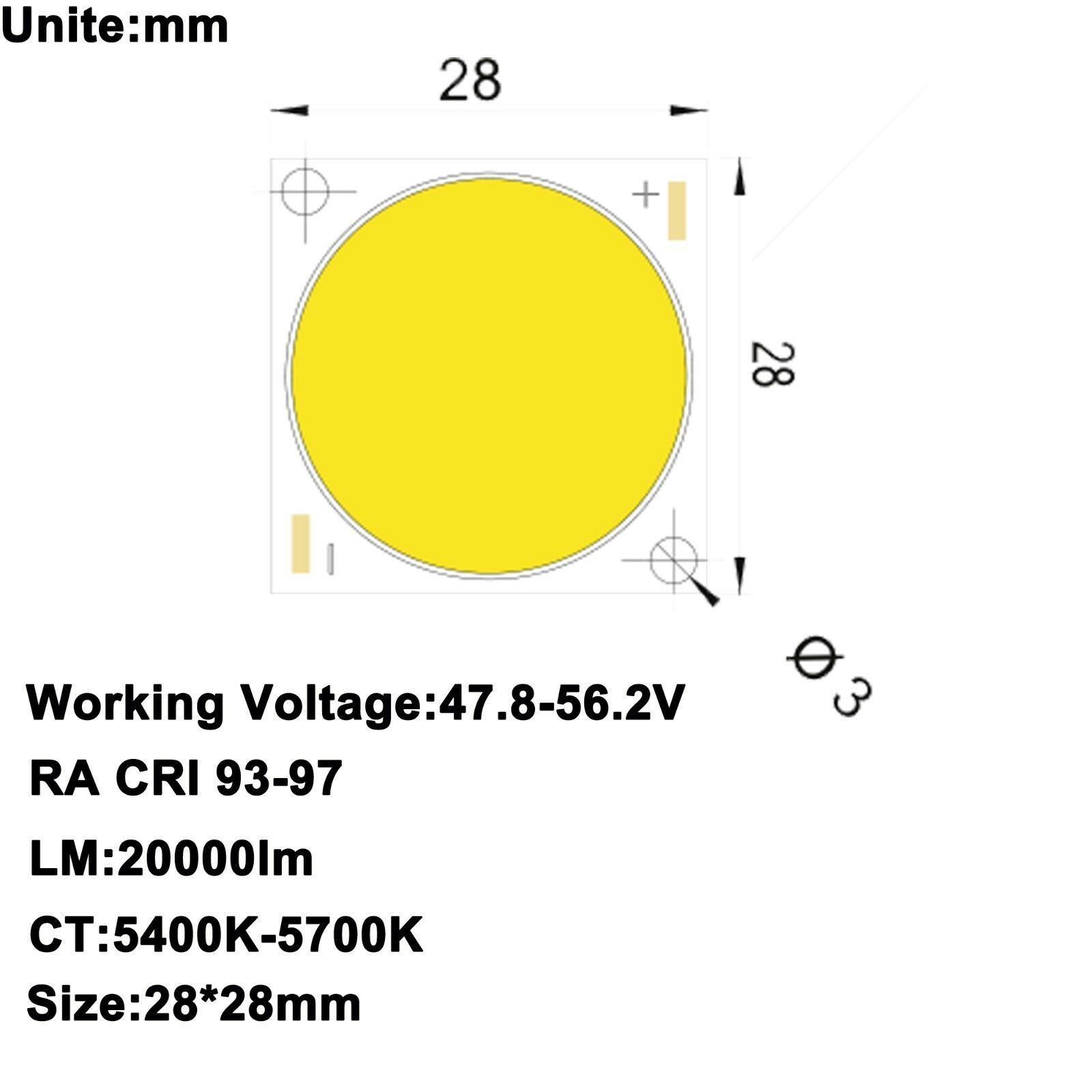 High CRI 95+ ra (93-97) COB LED Luz blancoo 5600K 56 V 3.5 A 200 W 20000 LM
