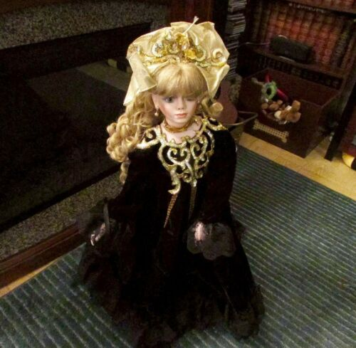 "34"" Tall RUSTIE DOLL 05302000 Black Dress With Gold Collar"