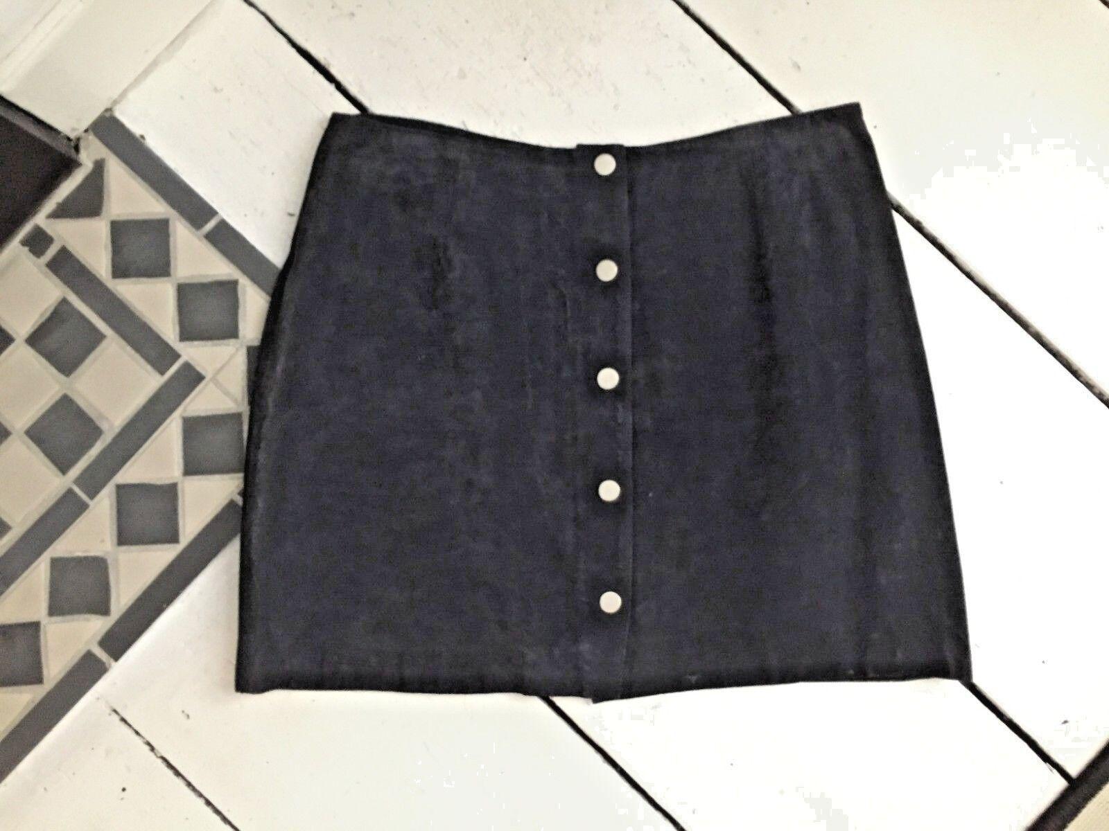 New Look Premium navy genuine suede mini skirt. Size Blogger Street.