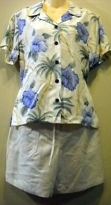 Mixed Items & Lots New Caribbean Joe Rayon Hawaiian Cream Top Shorts Set M Free Ship Check Mrsmnts Always Buy Good Clothing, Shoes & Accessories