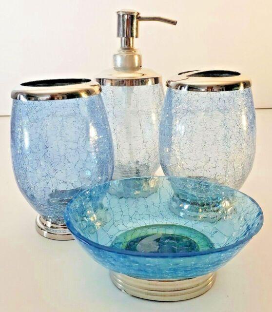 Veratex Blue Horizon Multi Color Glass Bath Accessories Collection For Sale Online Ebay