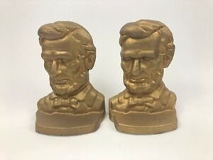 Vtg Pair ABE Abraham Lincoln Cast Iron Bookends Signed Rose Leeman L7