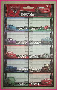 CARS-2-20-School-Book-Labels-Stickers-Lightning-McQueen-WGP-Disney-Pixar