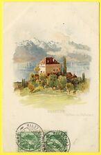 cpa SWITZERLAND SUISSE SCHWEIZ Lithographie de  CLARENS Château de Châtelard
