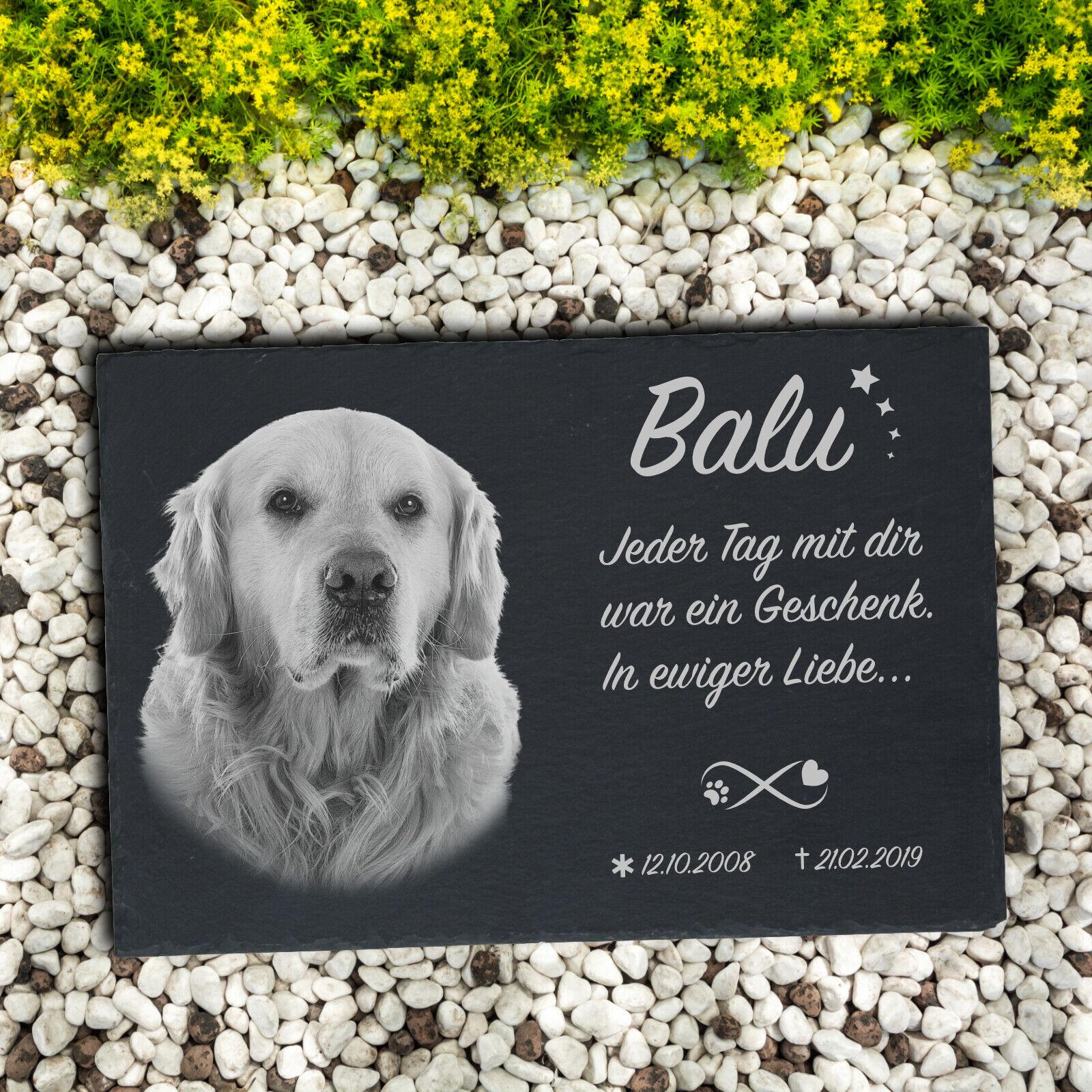 Tiergrabstein Gedenkstein Grabstein Hund Katze Hase Vogel Gravur 30 x 20 cm