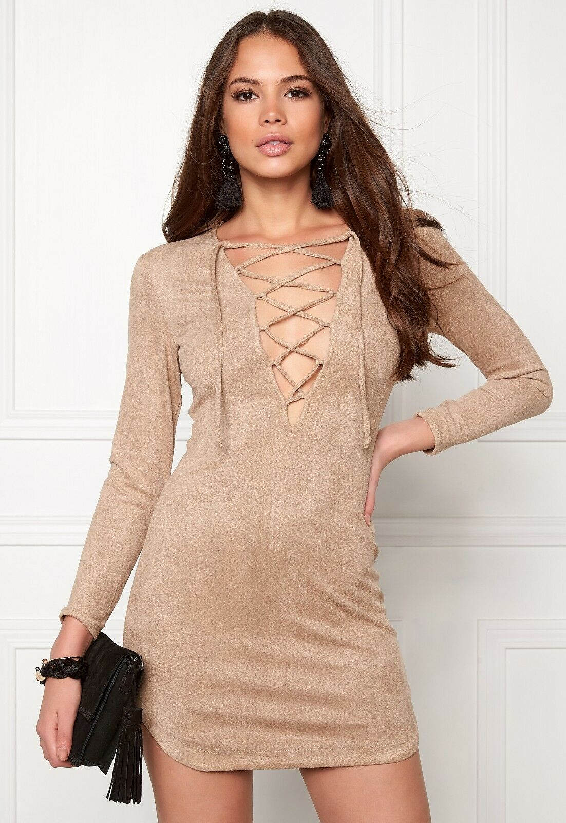 Wyldr Pretty Tied Up Cream Suede Dress Size S rrp  DH088 SS 28