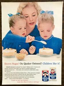 1963 Quick Quaker Oats PRINT AD Mom Twins Brown Sugar Children Like It