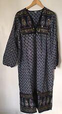 Light Blue Gypsy Boho Bohemian Dress M 12 14 Indian Gauze Kaftan Spell Vintage
