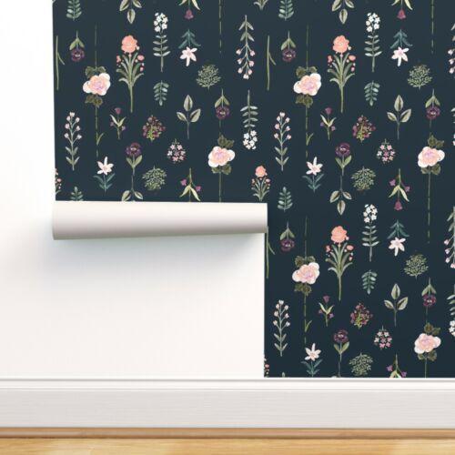 Removable Water-Activated Wallpaper Flower Specimen Botanical Floral Vintage