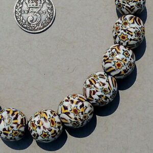 19 old antique venetian shooting star round millefiori african trade beads #4888