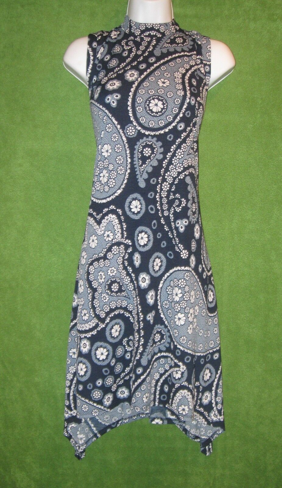 Beige by eci bluee Ivory Knit Floral Paisley Work Social Dress L 12 14