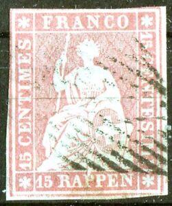 Schweiz-Nr-15-I-b-gestempelt-BPP-geprueft-Sitzende-Helvetia-Michel-400-used