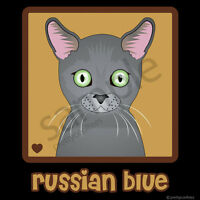 Russian Blue Cat Cartoon T-shirt Tee - Men Women's Youth Tank Short Long Sleeve