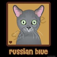 Russian Blue Cat Cartoon T-shirt Tee - Men Women's Youth Tank Short Long Sleeve