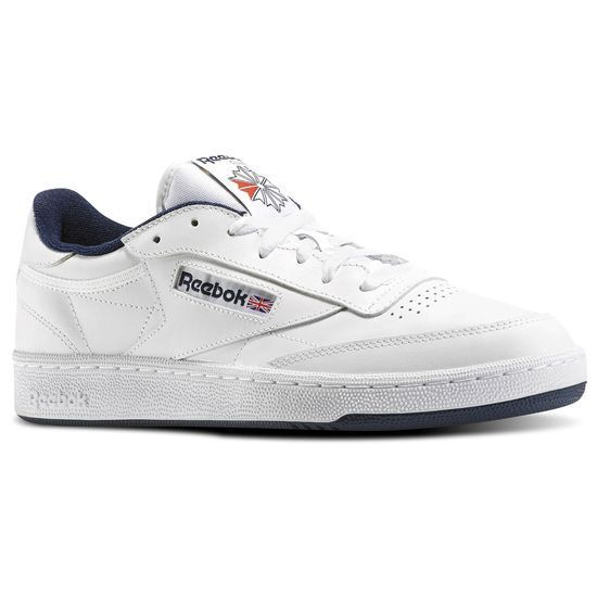 Reebok Club C 85 AR0457 White//Navy Leather Casual  Men Shoes Fast Shipping
