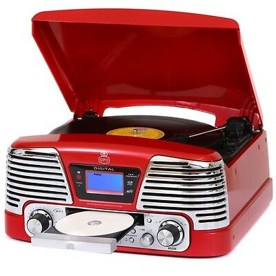 GPO Memphis Record Vinyl Turntable CD/MP3/USB/SD Player Music System Red