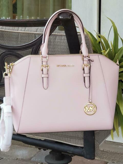 MICHAEL KORS CIARA LARGE TOP ZIP SATCHEL SHOULDER BAG BLOSSOM PINK LEATHER $428