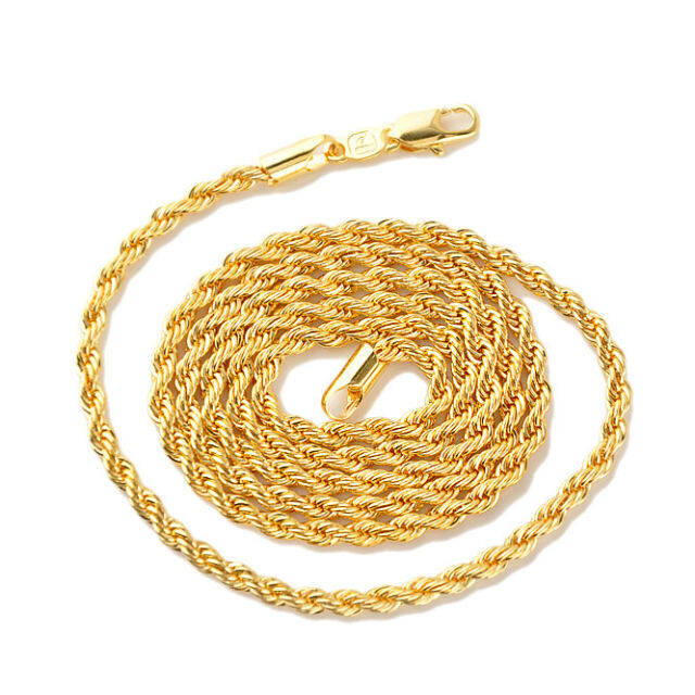 "Men/Women Necklace 18k Yellow Gold Filled 24"" Chain GF Jewelry Charms link"