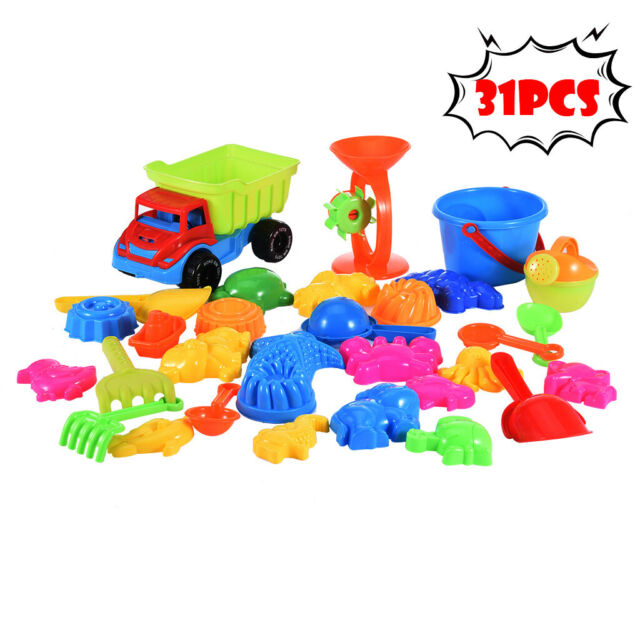 11pcs Beach Toy Set Great Kids Sand Toy Set Bucket Shovel Rake Cars Sand Molds
