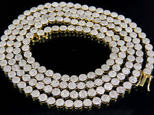 """Mens Ladies Solid Yellow Gold Pave 1 Row Real Diamond Chain Necklace 9 ct 30"""""""