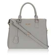 Veevan Saffiano Pattern Synthetic Leather Womens Totes Shoulder Handbags Grey