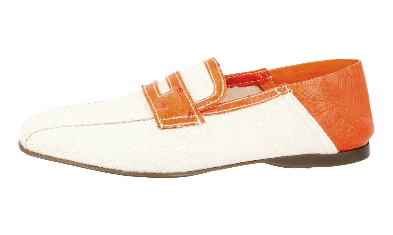 LUSSO PRADA Slipper 2d1488 Scarpe con coccodrillo 2d1488 Slipper Grigio Arancione Nuovo New 10 44 44,5 449faf