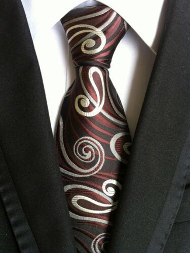 033KT jacquard mens silk neck tie brown gray stripes vintage party necktie ties