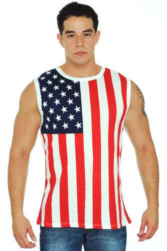 New Men/'s Proud American United States Flag USA Sleeveless T-Shirt Small