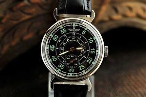 Vintage-Pobeda-Zim-Wrist-Watch-2602-cal-Green-Men-039-s-Mechanical-Military