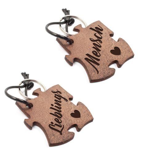 Set Lieblingsmensch Paar Schlüsselanhänger aus Echtleder mit Gravur im Used Look