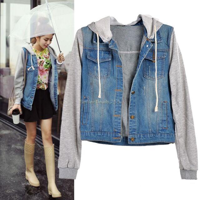NEW DENIM JERSEY JACKET Women's Jean Hoodie Jackets Hooded Coat M L XL XXL XXXL