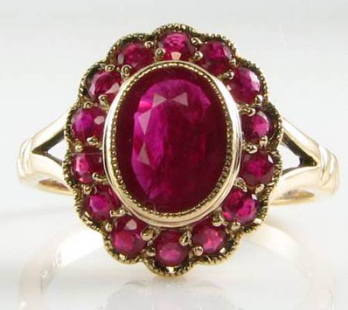 LARGE 9K 9CT gold ALL INDIAN RUBY CLUSTER ART DECO INS RING FREE SIZE