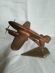 Bel-avion-bimoteur-cuivre-massif-sculpte-poids-2-4-kg-Loft-Mobilier-industriel