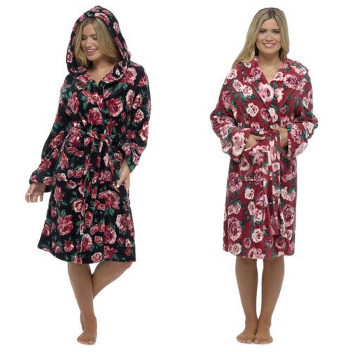 Wolf /& Harte Ladies Floral Fleece Hooded Dressing Gown Robe