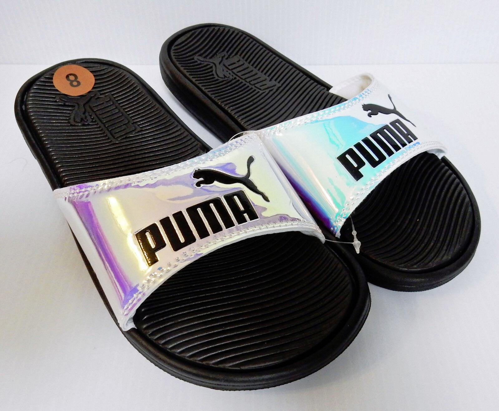 NEW PUMA Women's College Pop Cat Blk PEARL IRIDESCENT Slide Sandals Blk Cat Logo Sz 8 f5aff5