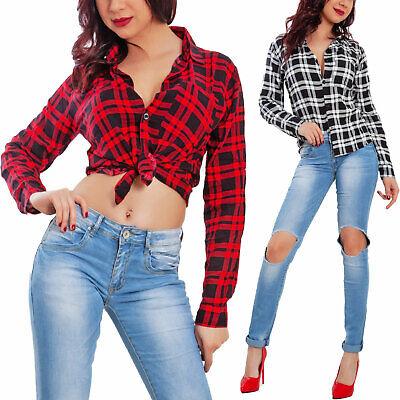 Fiducioso Camicia Donna Scozzese Buffalo Plaid Quadri Pinup Top Blusa Sexy Toocool Vi-h02