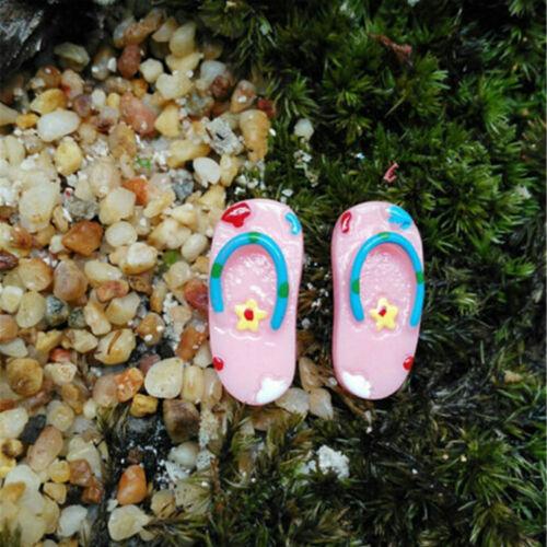 2 Pairs Miniature dollhouse Resin Slippers Home Mini Decor Fairy Garden BonsaiSP