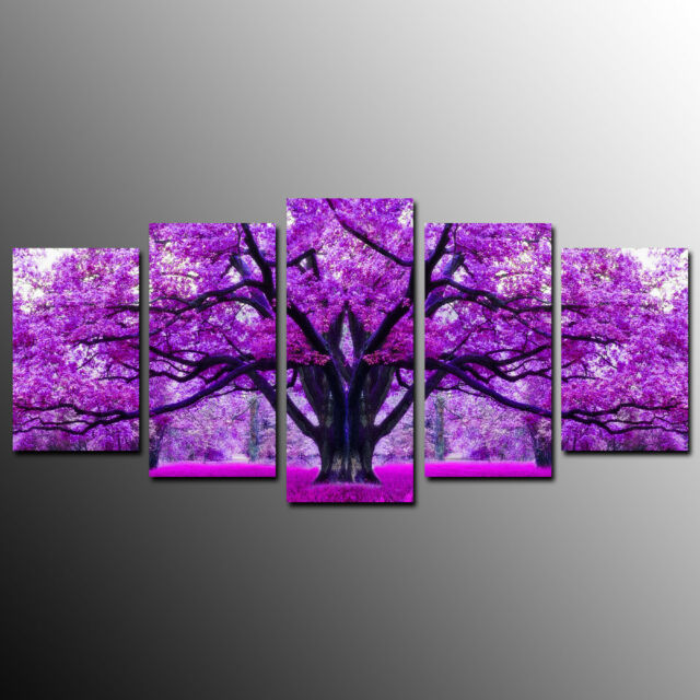 Framed Canvas Prints For Living Room Purple Tree Wall Art Canvas Painting 5pcs For Sale Online