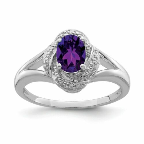 Details about  /Sterling Silver 2 MM Diamond and Amethyst February Birthstone Ring MSRP $223