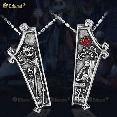 2PC THE NIGHTMARE BEFORE CHRISTMAS Jack and Sally Coffin Couple Necklace Friends