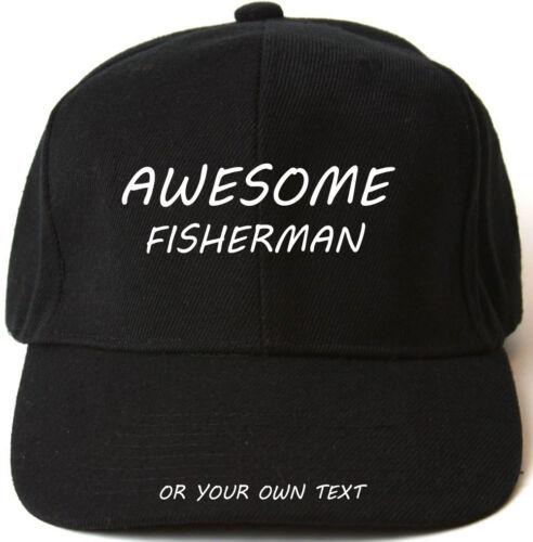 AWESOME FISHERMAN PERSONALISED BASEBALL CAP HAT XMAS GIFT
