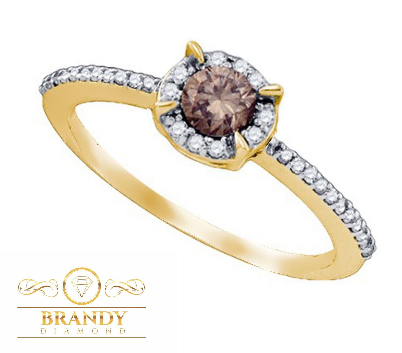 Brandy Diamond® Chocolate Brown 10K Yellow gold Halo Promise Ring .37C