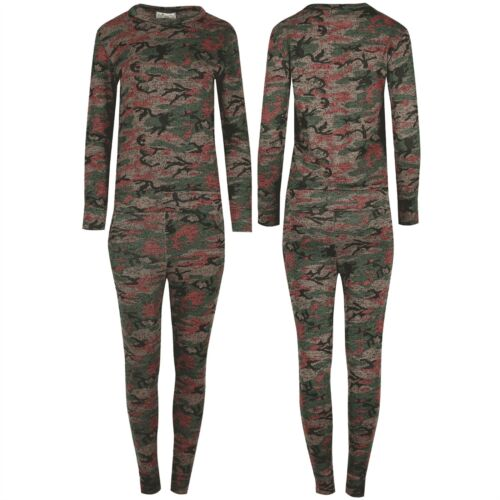 Women Tracksuit Ladies Knitted Army Camouflage Top Jog Bottom Loungewear Jogsuit