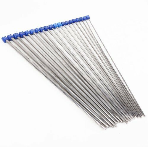 8mm High Quality Set 22pcs Single Pointed Stainless Knitting Needles Case 2mm