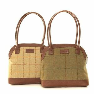 Op Tweed Gift Bag Country Bowler Horse Cream Voorraad Zipped Racing Handbag Ladies greenniet Present w7wBAqf